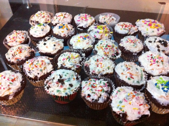 Some of the cupcakes... Devil's food cake with funfetti icing
