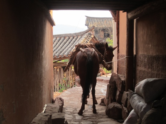 Horses are still used as the main form of transportation around this steep little village