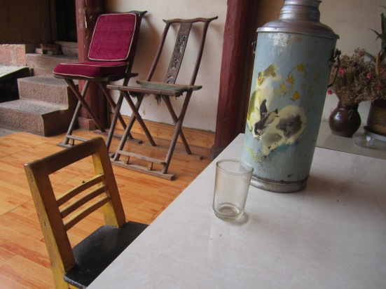 My little table/chair and thermos of hot water