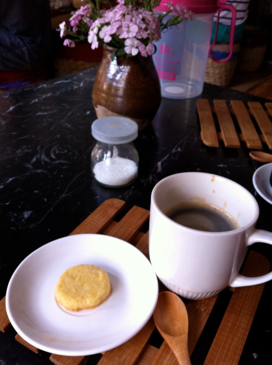 Coffee (and a bonus cookie!) from a cafe around the corner from my house in Kunming